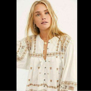 Free People All Roads Lead To You Cream Blouse